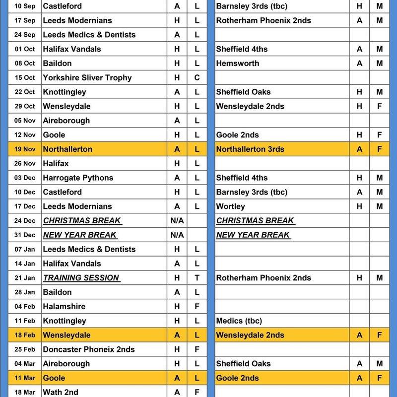 Stocksbridge Rugby Open Age Fixtures 2016-17