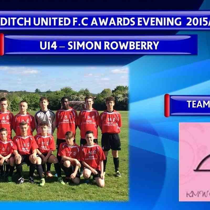 U14's Awards Evening 2015/16