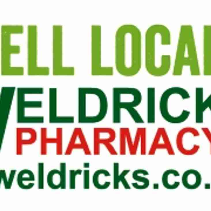 WELDRICKS PHARMACY JOIN THE CLUBS VALUABLE LIST OF MAJOR SPONSORS