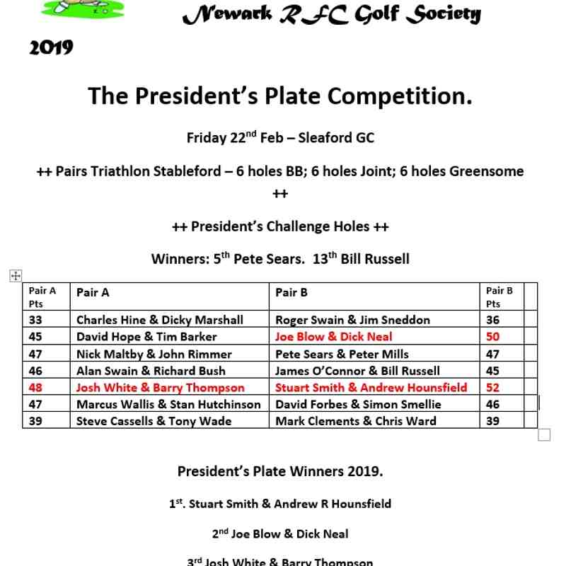 22-02-2019 The President Plate Golf competition