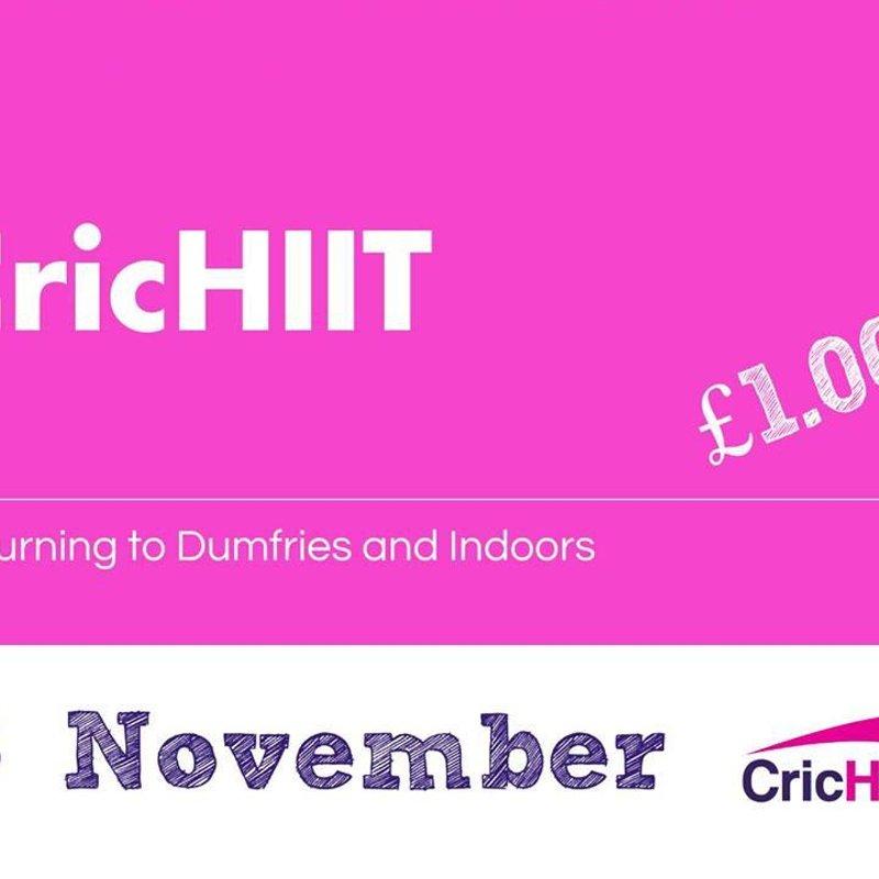 CricHIIT returns and indoors - Thu 15 Nov