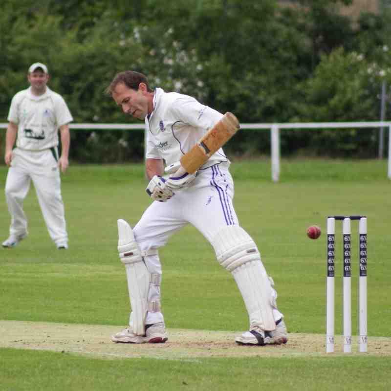 Lee Dredge watches the ball go past his off-stump (Credit: Dan Weston)