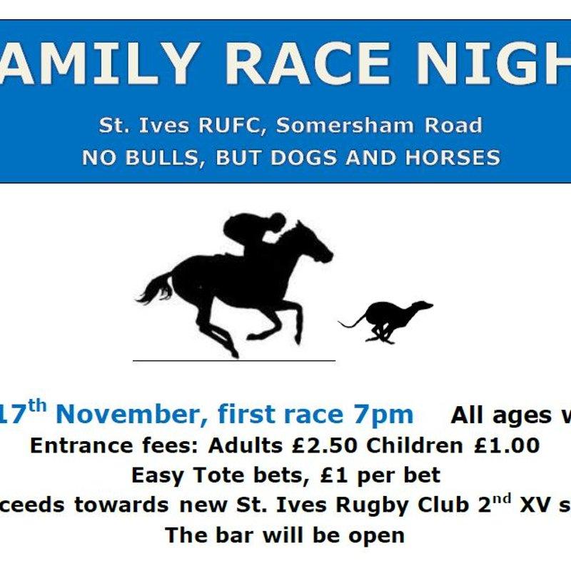 Race Night, Friday 17th November