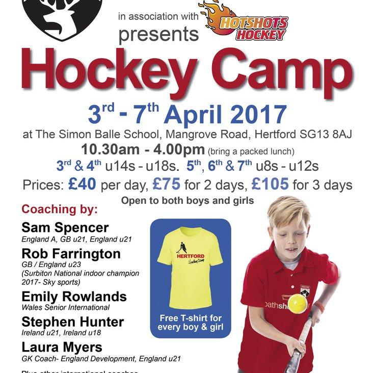 Hertford Hockey Camp 3rd - 7th April<