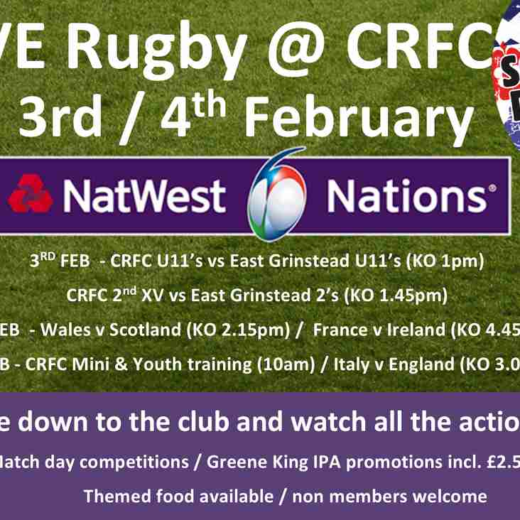 Watch all the 6 Nations games live @ Crowborough RFC starting 3rd Feb
