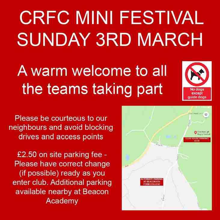 CRFC MINI FESTIVAL - SUN 3RD MARCH