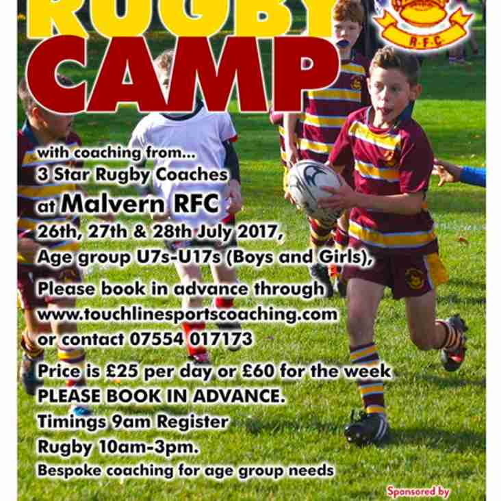 Summer Rugby Camp - Wednesday 26th to Friday 28th July 2017