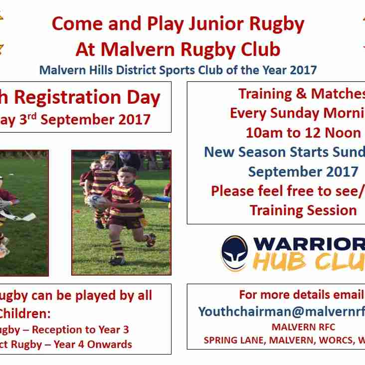 Youth Registration on Sunday 3rd Sept 2017