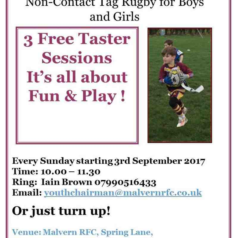 Tag Rugby at Malvern RFC - Sept 2017