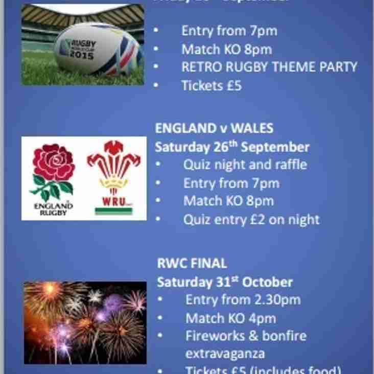 Rugby World Cup Events Calendar