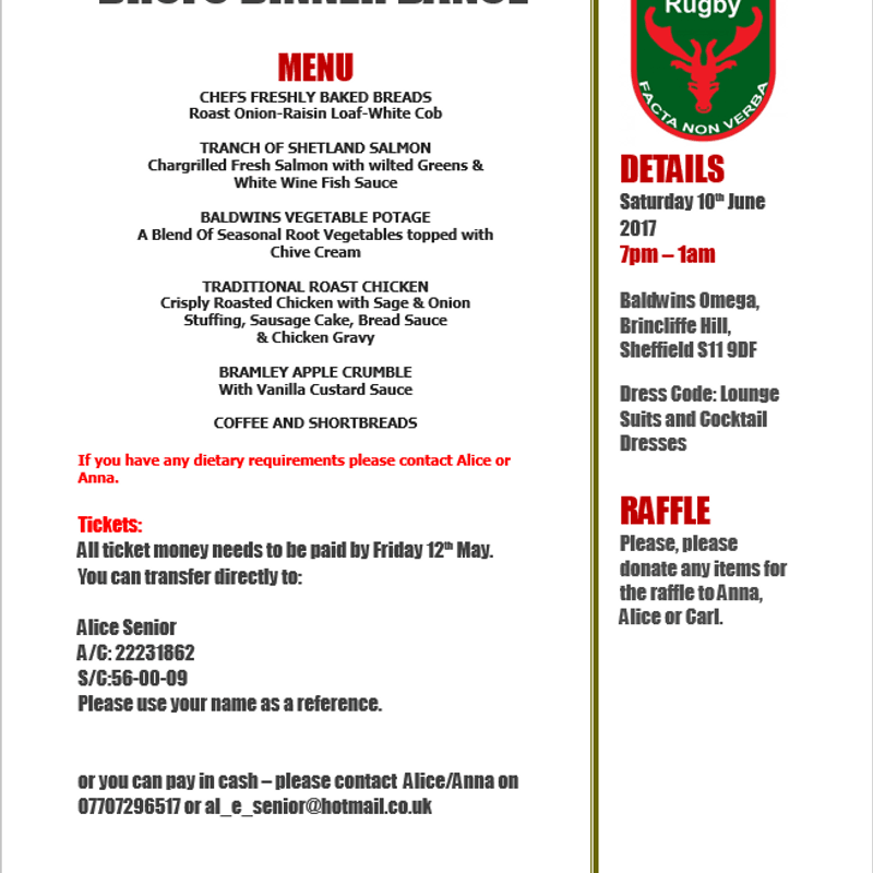 DRUFC Dinner & Dance, June 10th Event Info