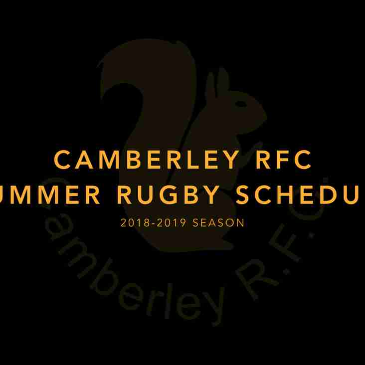 Camberley Senior Club Pre-Season Schedule