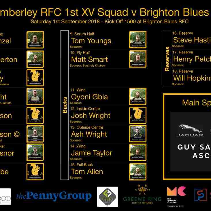 Camberley 1st XV Squad v Brighton Blues RFC