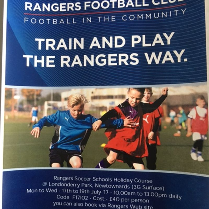 Glasgow Rangers Soccer Camp at Londonderry Park Newtownards