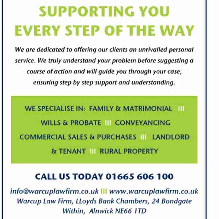 Warcup Law Firm Sponsor Dinnington Match Saturday 22nd October
