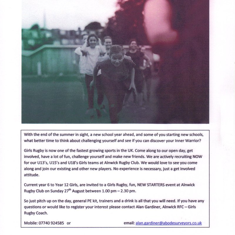 Girls Rugby - Inner Warrior Event on Sunday 27th August