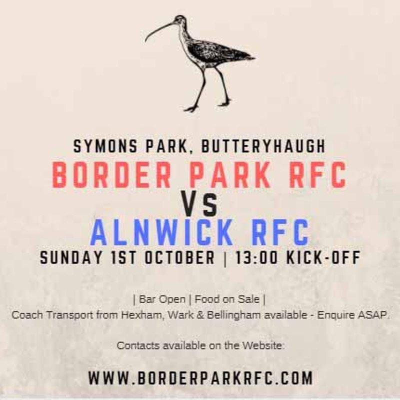 Border Park v Alnwick XV Sunday Ist October 1.00pm KO