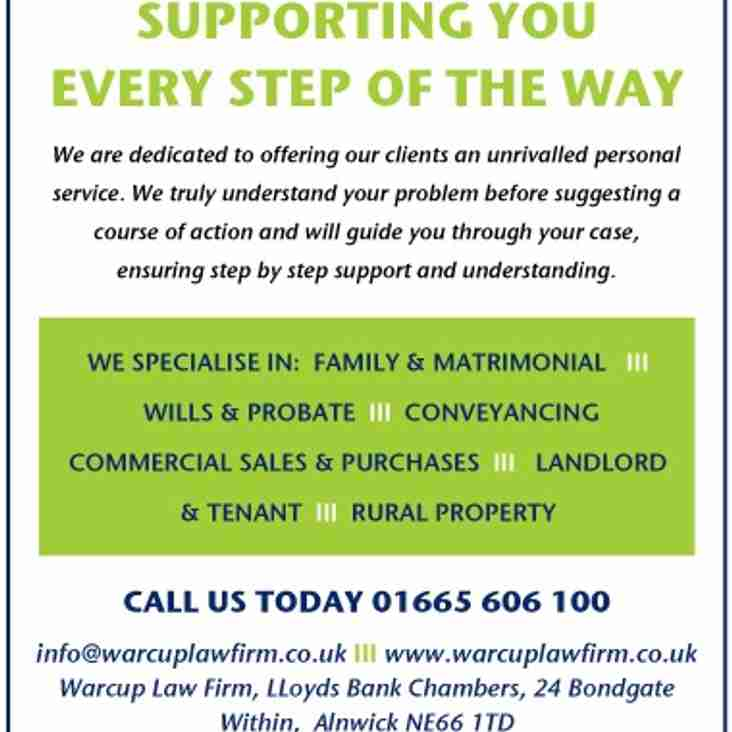 Warcup Law Firm to Sponsor Saturday's Dinnington Match
