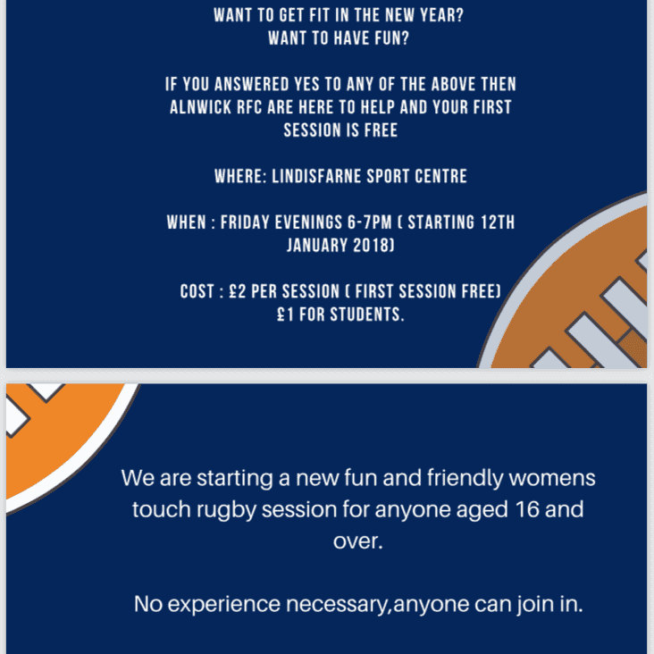 Alnwick RFC Ladies Touch Rugby Starts 12th January!