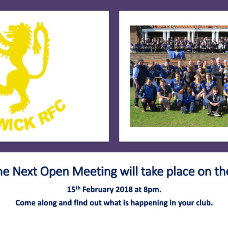 Open Meeting in Clubhouse Thursday 15th February at 8pm