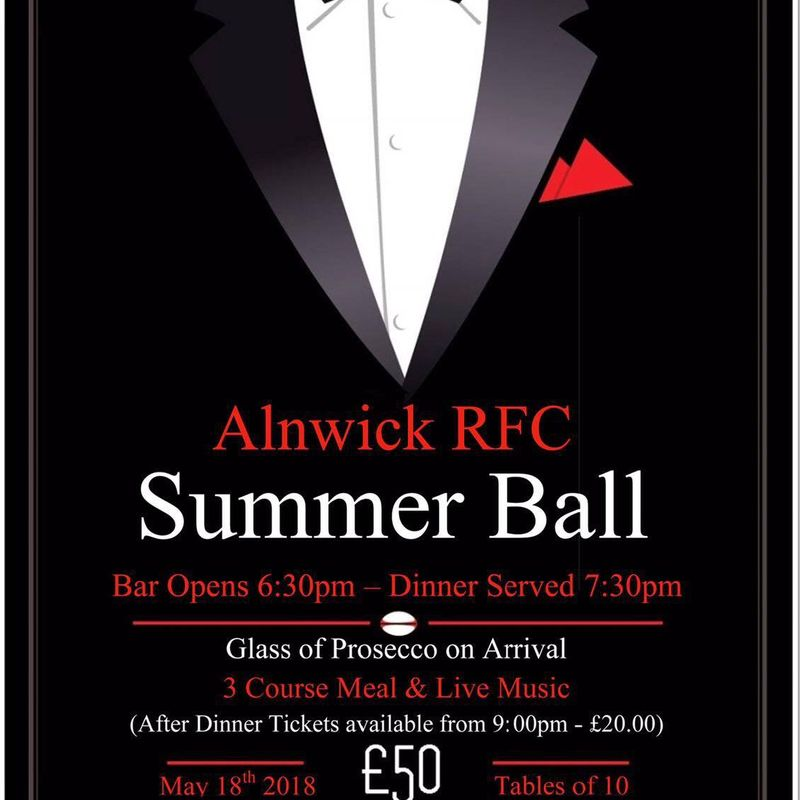 Alnwick RFC Summer Ball Date Confirmed 18th May