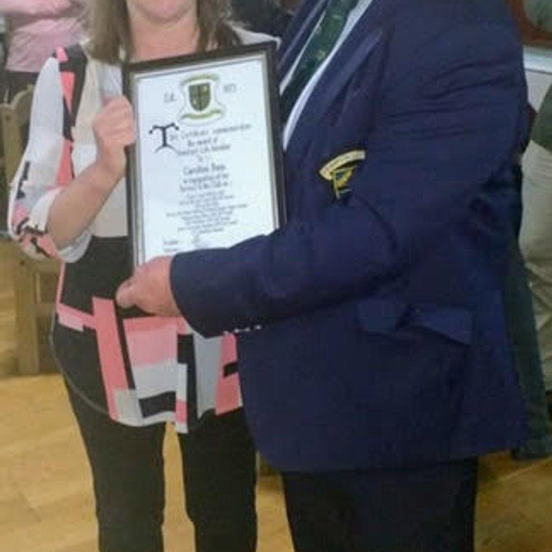 HIGHEST CLUB AWARD FOR CAROLINE BAIN