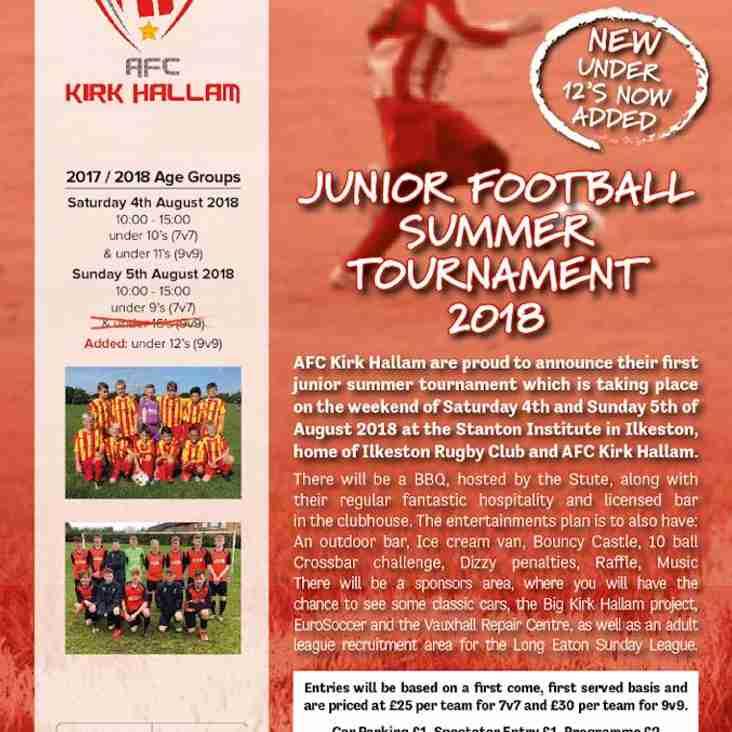 Summer Tournament Announcements