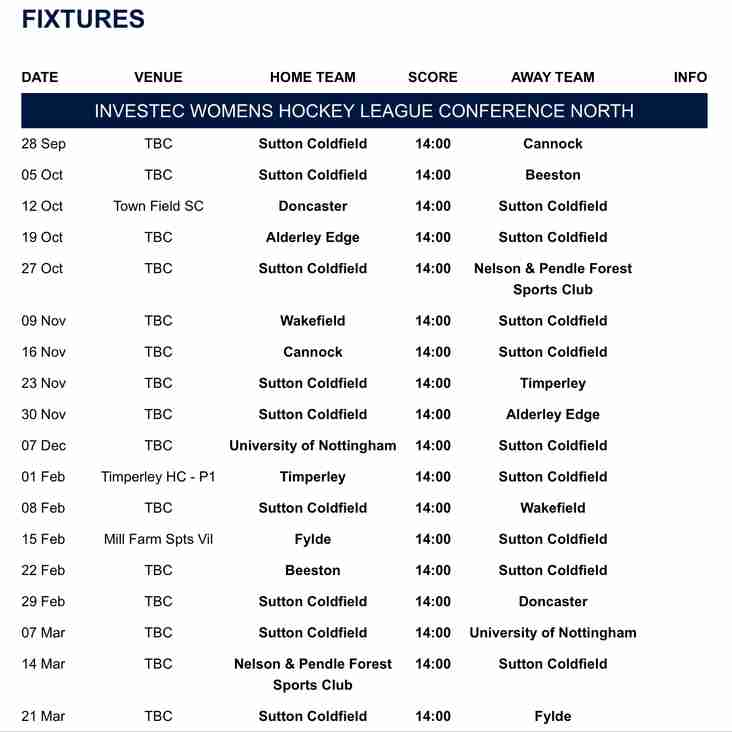 Ladies' 1XI fixtures for 2019-20 season