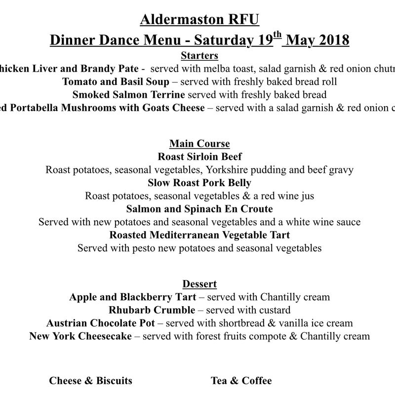 Annual Club Dinner Saturday 19th May