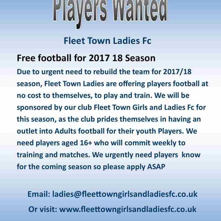 Players wanted for Ladies Team 2017 18 Season