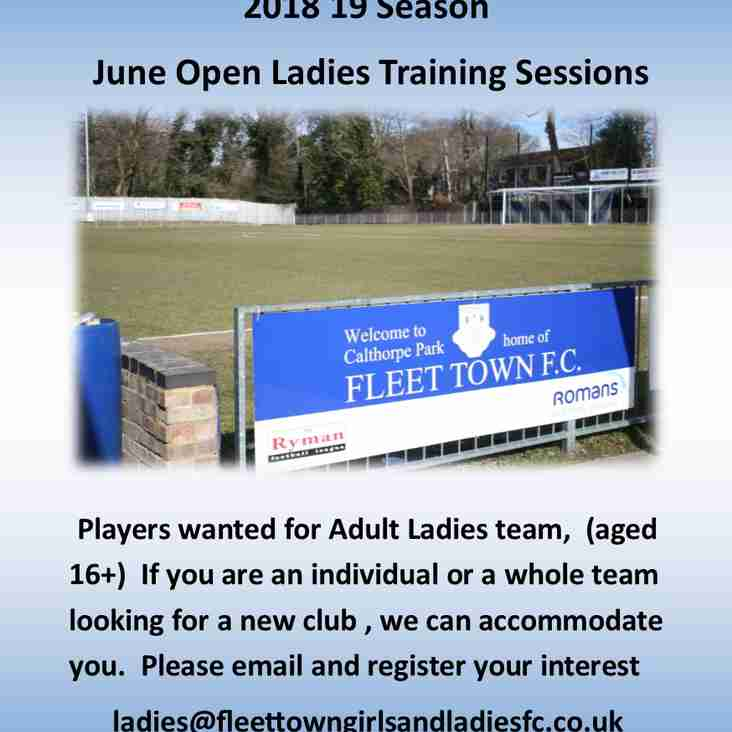 Players wanted for Ladies Team 2018 19  Season