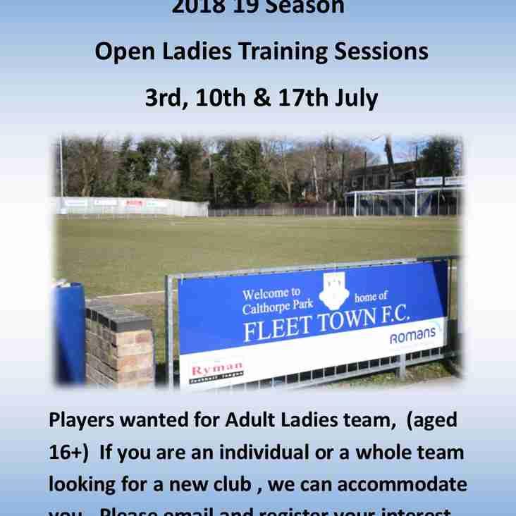Fleet Town Ladies Fc July Open Trials
