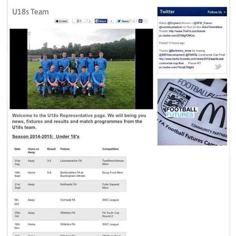 Jack Cram Making U18 Berks & Bucks Rep Team