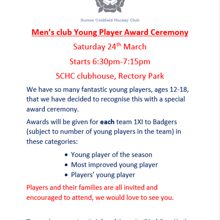 MEN'S CLUB - YOUNG PLAYER AWARD CEREMONY