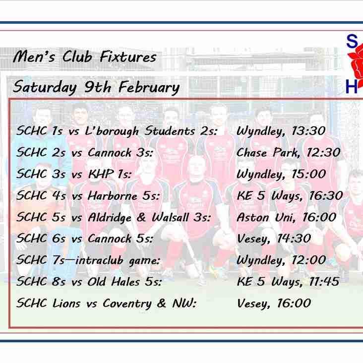 Men's League fixtures, Saturday 9th February