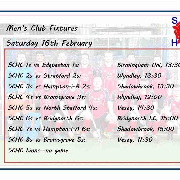 Men's League Fixtures, Saturday 16th February
