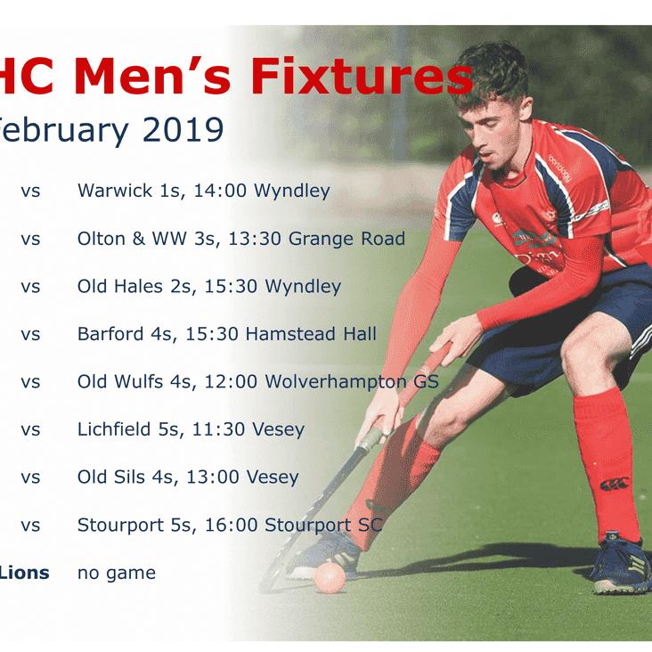 Men's fixtures, Saturday 23rd February