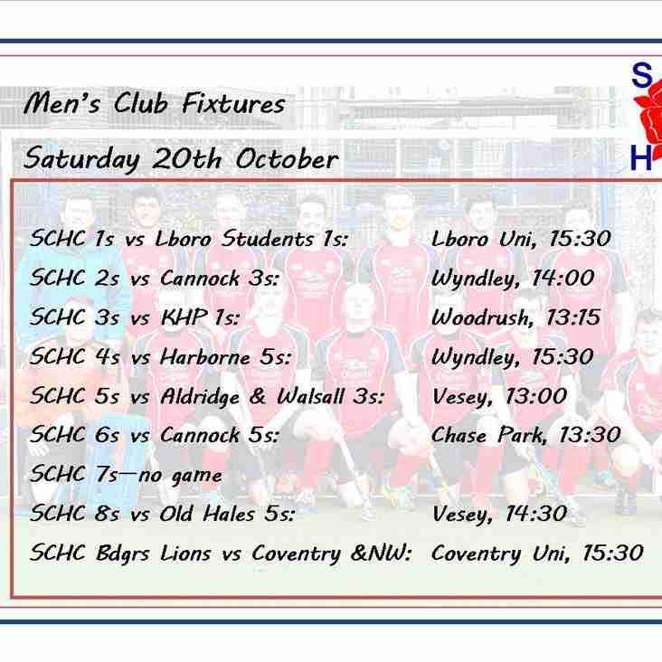 Men's fixtures for 20 October 2018