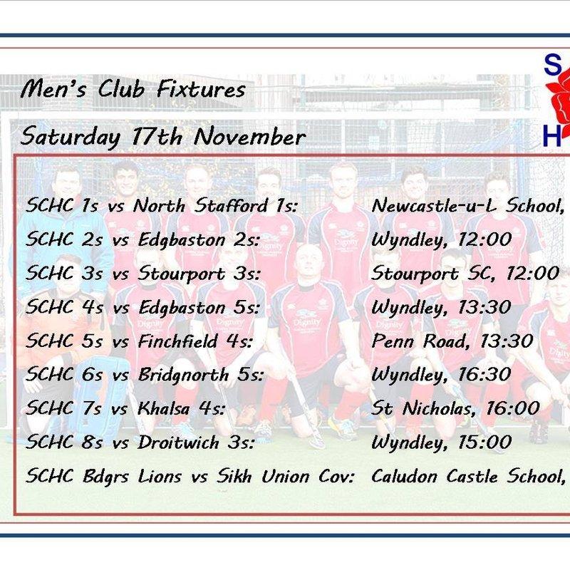 Men's fixtures for 17 November 2018
