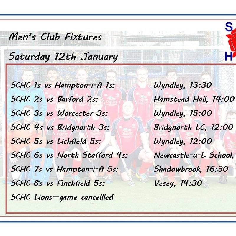 Men's fixtures for 12th January 2019