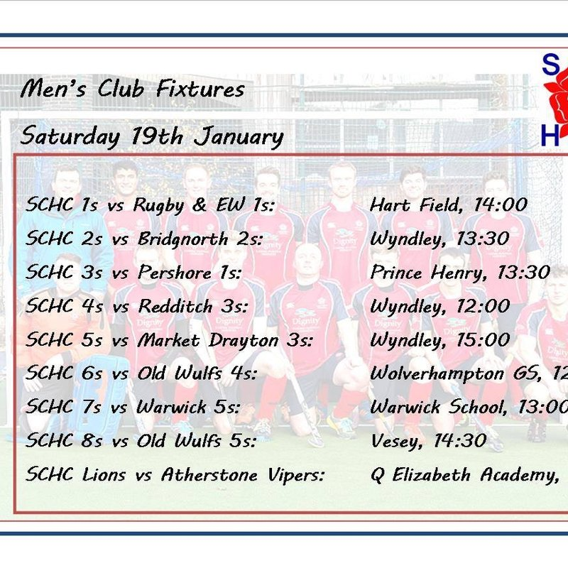Men's fixtures for 19th January