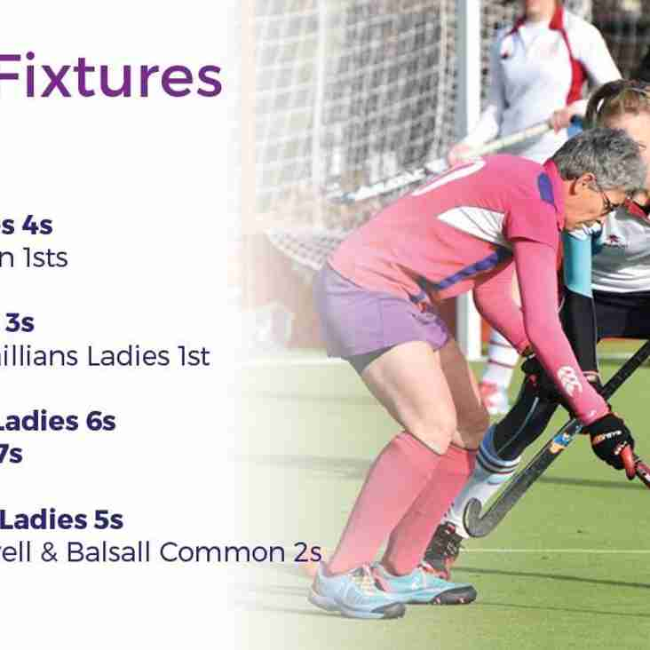 Ladies fixtures for 19th January
