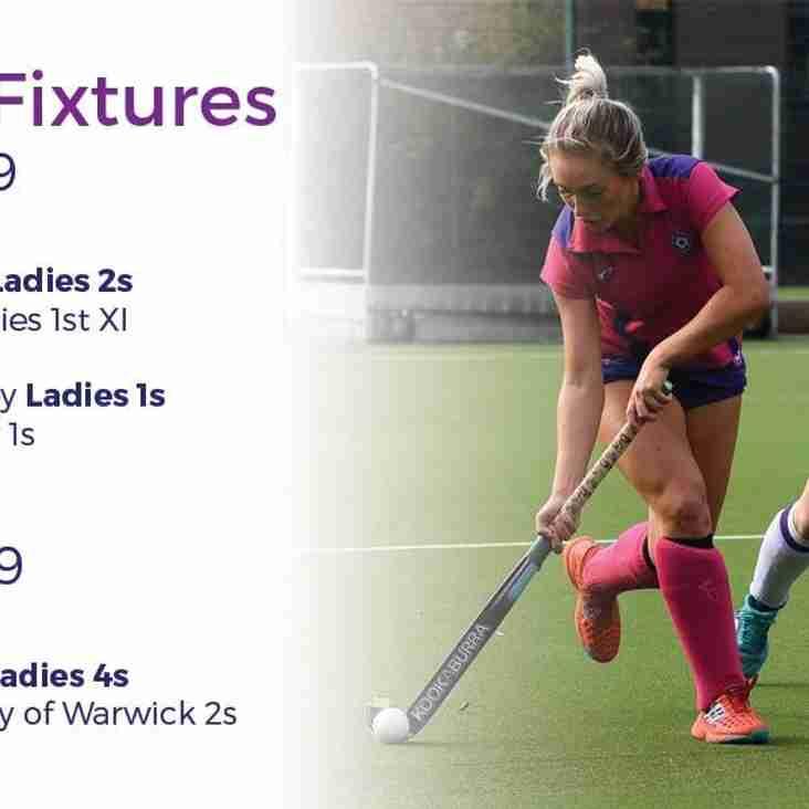 Ladies fixtures 23 February 2019
