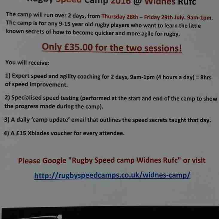 Widnes Rufc Junior Speed Camp 2016