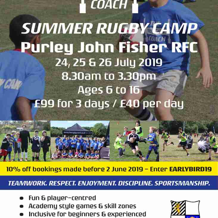 Rugby Camps Return to PJF on July 24th-26th inclusive