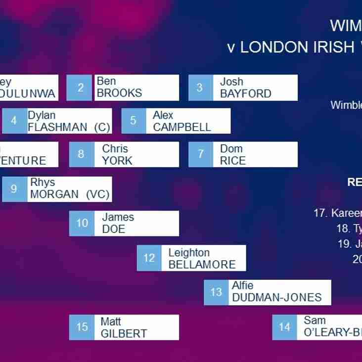 Looking forward to Wimbledon 1st XV v London Irish Wild Geese