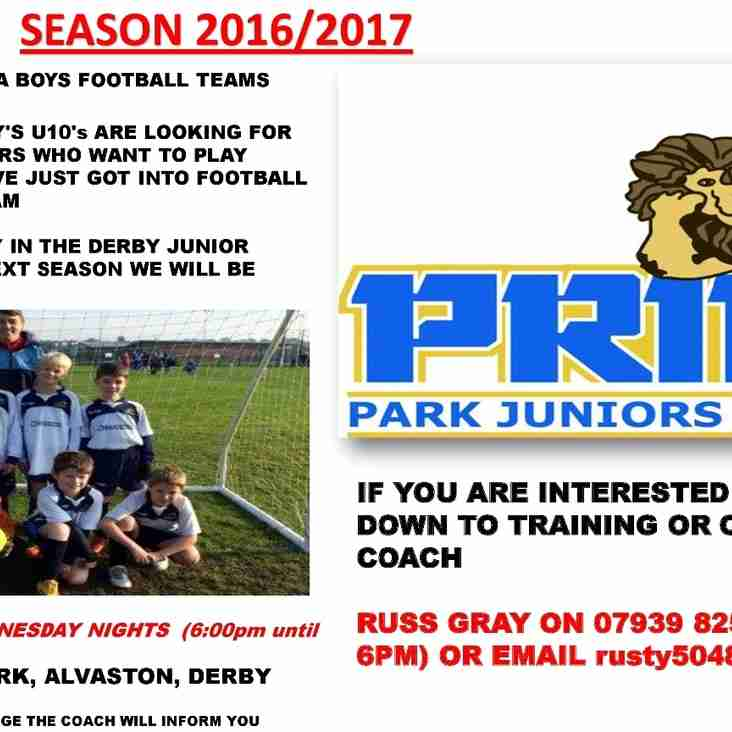 PLAYERS REQUIRED FOR u10 BOYS/MIXED TEAM 2016/17