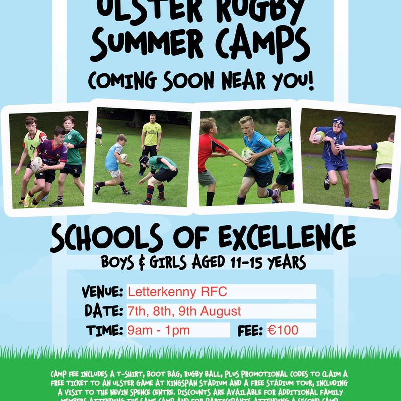 Ulster Rugby School of Excellence comes to Letterkenny 7th - 9th Aug