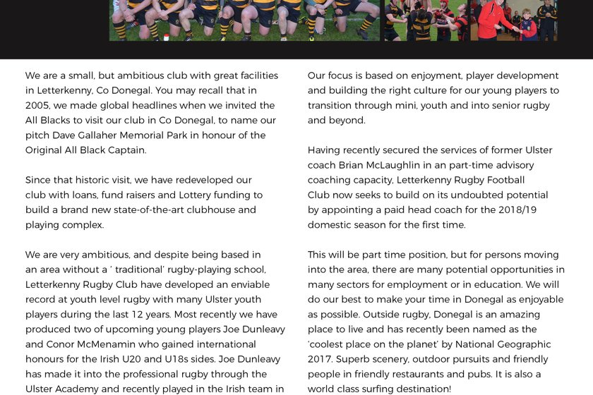 Letterkenny RFC - Rugby Coach Wanted