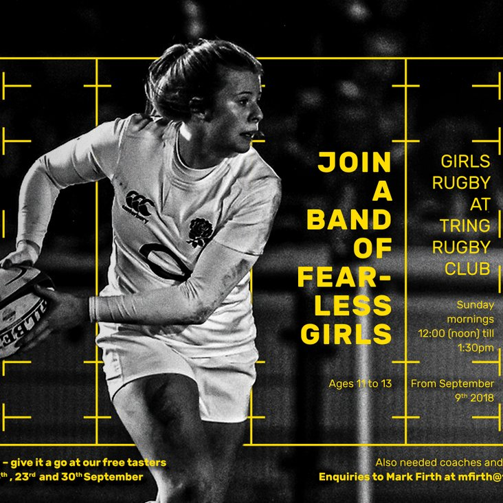 Girls in school years 6, 7 and 8 - come and try rugby this Sunday at midday for free.<